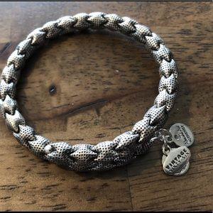 Braided sterling silver charm bracelet